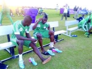 •GETTING SET: Super Eagles' duo of Elderson Echiejile (left) Brown Ideye and others prepare before a training session in Houston, Texas, USA, ahead of Friday's International friendly match