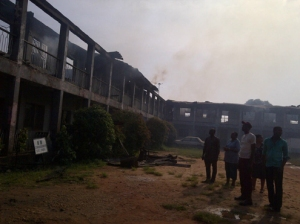 Burnt Education Ministry in Benin this morning