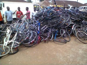 •A heap of imported fairly used bicycles in Benin this morning.