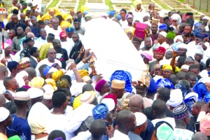 •The remains of the late Alhaja Abibatu Mogaji on the way to its final resting place in Ikoyi, Lagos