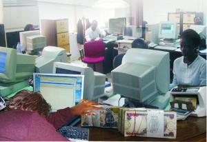 •A Nigerian banking hall