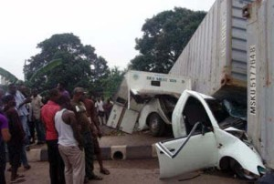 •An unlatched container falls off a truck, crushing another vehicle
