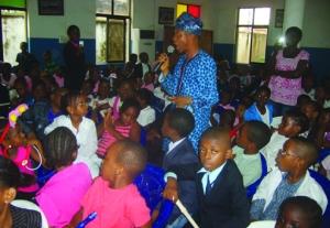 Nigerian actor, Hafiz Oyetoro, giving a career talk to pupils of Ronik International School, Lagos
