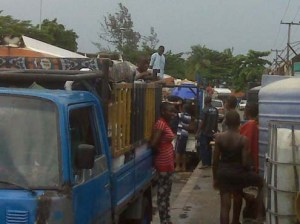 •The evicted families of policemen at Apapa Barracks