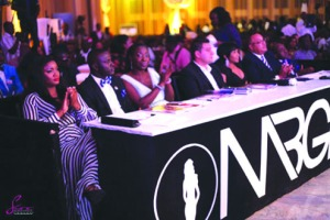 Omotola Jalade-Ekeinde (L) and other judges at MBGN 2013