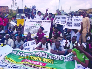 •Activists and students protesting in Lagos on Tuesday against poor funding of education by the Federal Government