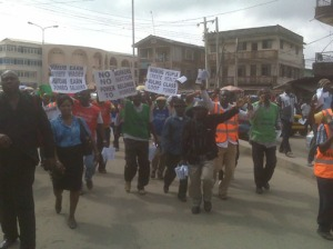 •Students and activists protesting in Lagos today over the poor state of education in country.