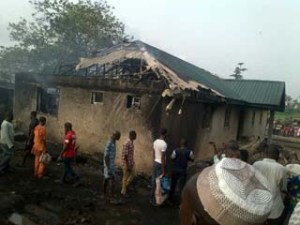 •A house burnt by petrol tanker fir in Ikorodu this morning.