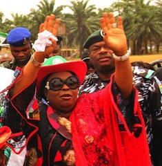 Dame Patience Jonathan acknowledging cheers from the people of Okirika