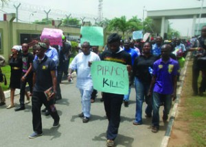 Nollywoo stars protesting against piracy in Lagos