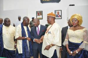 Pix3 Akwa Ibom State Governor, Mr Udom Emmanual (middle) in a handshake with the family Head Atuekong Don Etiebiet, during a Valedictory Executive Council Session held in honour of former Governor of Cross River State, Late Chief Donald Dick Etiebiet, at Executive Council Chambers, Government House, Uyo. Pix4 Akwa Ibom State Governor, Mr Udom Emmanual in an handshake with Senator Hellen Esuene, at the funeral Service held in honour of the former Governor of Cross River State, Late Chief Donald Dick Etiebiet, held at Ikot Ekpuk, Oruk Anam Local Government Area. Pix5 L-R : Akwa Ibom State Governor, Mr Udom Emmanual and wife Martha (middle), Deputy Governor, Mr Mosses Ekpo, Deputy Governor Cross River State, Prof. Ivara Esu, (extreme right) Speaker State House Of Assembly, Hon . Aniekan Uko and State Chief Judge, Justice Stephen Okon, during the funeral Service of former Cross River State Governor, Late Chief Donald Dick Etiebiet, at Ikot Ekpuk, Oruk Anam Local Government Area.