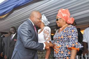 Pix4 Akwa Ibom State Governor, Mr Udom Emmanual in an handshake with Senator Hellen Esuene, at the funeral Service held in honour of the former Governor of Cross River State, Late Chief Donald Dick Etiebiet, held at Ikot Ekpuk, Oruk Anam Local Government Area. Pix5 L-R : Akwa Ibom State Governor, Mr Udom Emmanual and wife Martha (middle), Deputy Governor, Mr Mosses Ekpo, Deputy Governor Cross River State, Prof. Ivara Esu, (extreme right) Speaker State House Of Assembly, Hon . Aniekan Uko and State Chief Judge, Justice Stephen Okon, during the funeral Service of former Cross River State Governor, Late Chief Donald Dick Etiebiet, at Ikot Ekpuk, Oruk Anam Local Government Area.