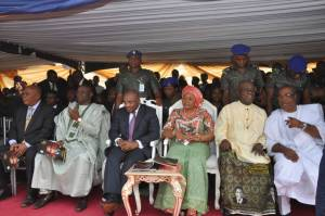 Pix5 L-R : Akwa Ibom State Governor, Mr Udom Emmanual and wife Martha (middle), Deputy Governor, Mr Mosses Ekpo, Deputy Governor Cross River State, Prof. Ivara Esu, (extreme right) Speaker State House Of Assembly, Hon . Aniekan Uko and State Chief Judge, Justice Stephen Okon, during the funeral Service of former Cross River State Governor, Late Chief Donald Dick Etiebiet, at Ikot Ekpuk, Oruk Anam Local Government Area.