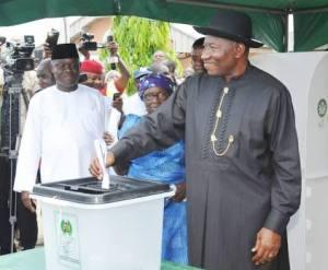 Former President Goodluck Jonathan casting his vote