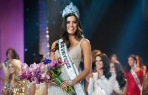 Miss Colombia after she was wrongly named winner of Miss Universe 2015