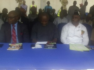 L-R: Commissioner for Finance, Mr. Akan Okon; Mr. Udoka Iyak, SSA to Governor Udom Emmanuel and Amb. Ukai Udeme Emmanuel