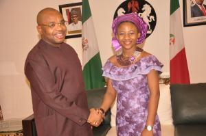 Gov Udom Emmanuel with Christiana Udoh during the visit at Government House, Uyo