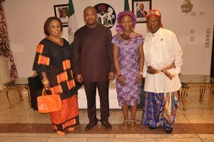 Gov Udom Emmanuel with Christiana Udoh and her parents