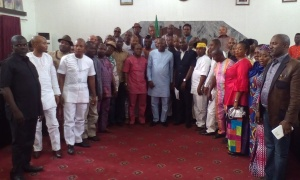 Hon.Victor Antai (middle right), the Honourable Commissioner for Local Government and Chieftaincy Affairs, and Hon. Charles Bassey, Chairman, Akwa Ibom State Councillors (middle left) with members, Akwa Ibom State Councillors