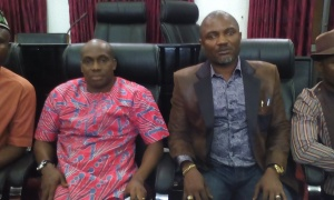 Chairman, Akwa Ibom State Councillors, Hon. Charles Bassey (left)