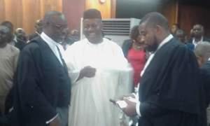 Senate Minority Leader, Sen. Godswill Akpabio (middle) at the court