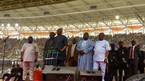 Gov Ayo Fayose delivering goodwill message while other governors look on