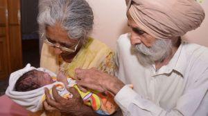 Daljinder Kaur holding her new born baby