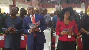 Gov. Udom Emmanuel with wife , Martha at the Qua Ibo Church