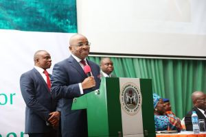 Governor Udom Emmanuel delivering his welcome address during the summit