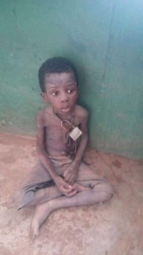 Little Taiwo Korede in chains