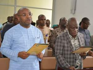 Gov Udom Emmanuel and deputy governor Moses Ekpo during the fasting