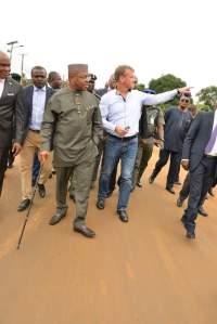 Gov Udom Emmanuel during the inspection tour to the Uyo-Ikot Ekpene-Aba Road