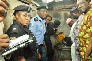 Commissioner for Information and Strategy, Steve Ajor index (right) and Lagos Police Commissioner, (3rd left) at the scene