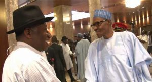 Dr Goodluck Ebele Jonathan with President Muhammadu Buhari after the meeting