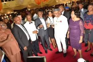 Gov Udom Emmanuel and his wife Martha with members of the State Executive Council in a cocktail