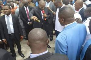 Gov Udom Emmanuel of Akwa Ibom State anointing the land