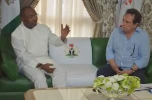 Gov Udom Emmanuel with Mr Carlos Cabal during the visit