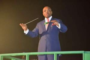 Gov Udom Emmanuel conducting the Congregational Hymn
