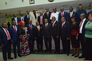 Gov Udom Emmanuel in a group photograph with the new Exco members